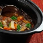 Photo of Irish Stew or Guinness Stew made in a crockpot or slow cooker.