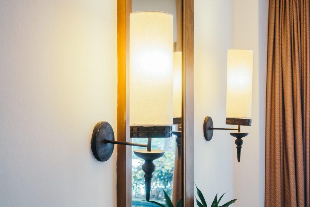 Light lamp on wall decoration in living room interior - Vintage Light Filter