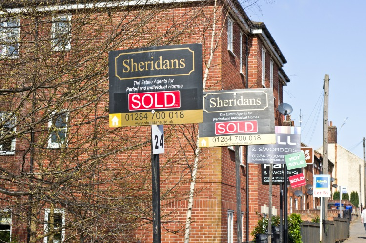 BURY ST EDMUNDS, UK- MARCH 10, 2014: Houses which have been sold in Bury St Edmunds, at a time when the local house prices are on the increase.